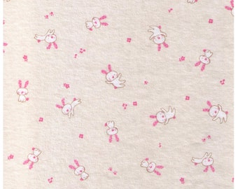 """HALF YARD  - Bunny and Musical Notes on Cream - 75cm / 30"""" Wide - Cotton Knit - Japanese Import"""