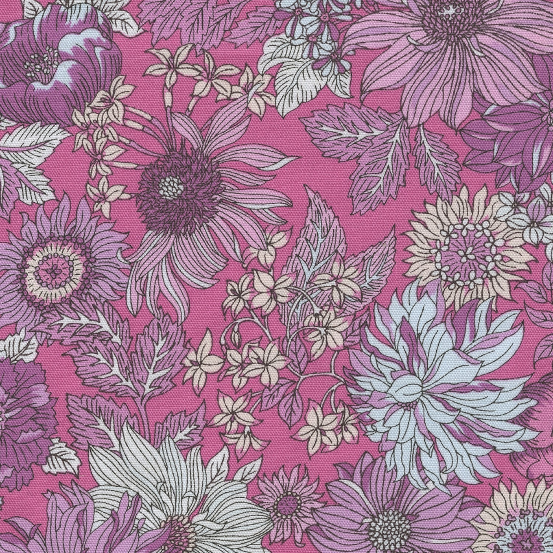 Half yard lecien memoire a paris wild flowers on pink etsy zoom izmirmasajfo