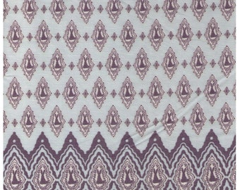 Half Yard - Mikiono Elfin and Little Friends - Bunny Border Print - Blue and Grey Colorway 3001-B - Japanese Imported Fabric