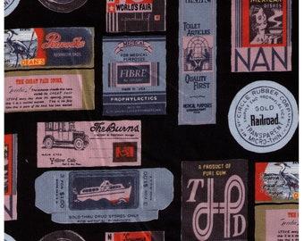 HALF YARD Yuwa - Travel Stamps on BLACK - Suzuko Koseki 826205-E - Japanese Import - Tickets and Luggage Tags,  Paris Bonjour France 1950s