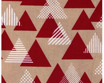 HALF YARD Lecien Geometric Collection - Triangles in RED - 41107-30 - Cotton Linen Blend Canvas - Japanese