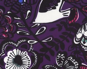 HALF YARD Lecien - Isso Ecco Birds and Flowers on PURPLE - Nylon Oxford - 40749-110 - Japanese Import