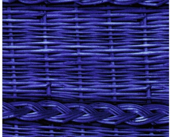 """End of Bolt 56"""" - Photo Realistic Blue Basket Weave with Braid, Oxford Cotton - Cosmo Textiles, Japanese Import"""