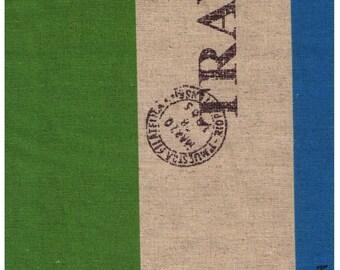 HALF YARD Yuwa - Travel Stripes Blue and Green - Cotton / Linen Canvas SZ44446679 F - Japanese Import
