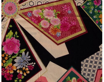 HALF YARD Yuwa - Fans  on BLACK 829571-A - Traditional Japanese Geometric - Yukata - Sakura, Cherry Blossom, Chrysanthemum Flowers