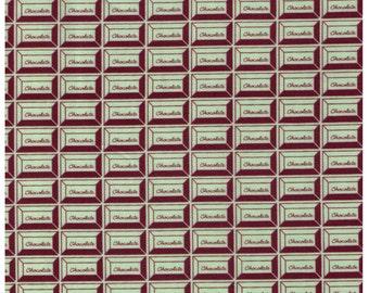 HALF YARD - Chocolate Squares, Light Green and Brown - Cotton Sheeting - Kokka, Japanese Import