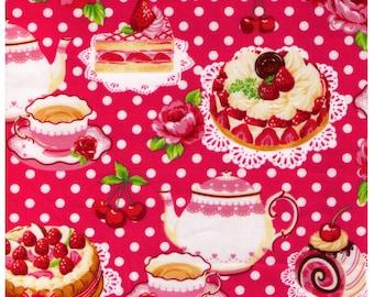 HALF YARD - Vinyl Coated Japanese Fabric - Pink Colorway - Strawberries, Cakes, Desserts, Polka Dots, Strawberries