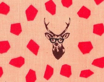HALF YARD Kokka Echino - SAMBAR Jg96800-804B Pink - Deer Stag with Rough Dots - Cotton Double Gauze