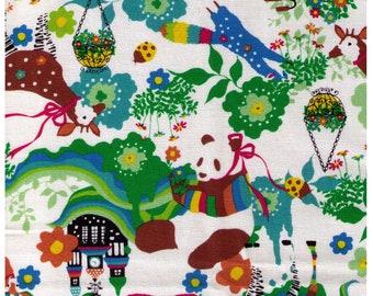 HALF YARD Kiyohara - Kayo Horaguchi - HKF-53G Brights on White - Panda, Castle, Deer, Ringtail, Tanuki -  Imported Japanese