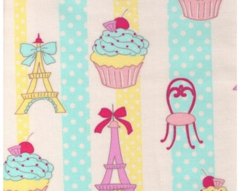 HALF YARD Yuwa - Vinyl Coated Japanese Fabric - Paris Stripes - Aqua, Yellow and Pink - Cupcake, Eiffel Tower and Cafe