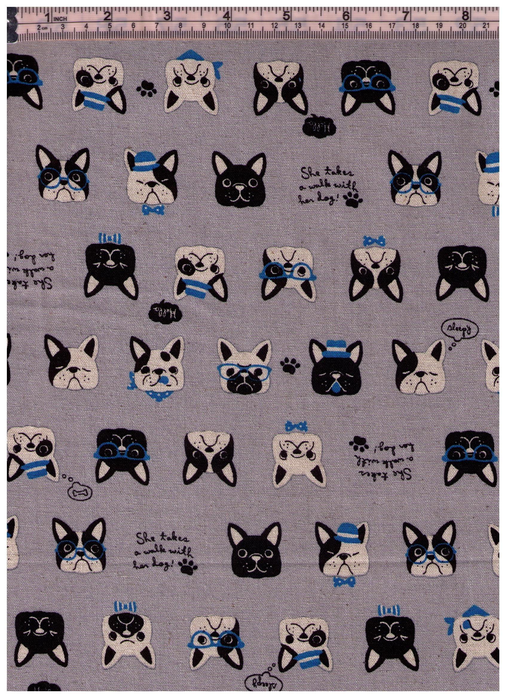 French Bulldog Cosmo cotton linen canvas fabric AP85405-E blue