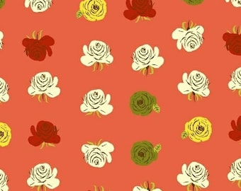 HALF YARD - Roses in Red Orange- 51203-10  Far Far Away 2 by Heather Ross - Windham Fabrics - Far Far Away II