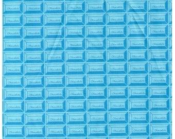 HALF YARD - Chocolate Squares, Blue - Cotton Sheeting - Kokka, Japanese Import