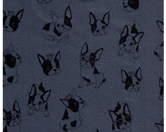 "HALF YARD Kokka Trefle - French Bulldog on Blue  - 75cm / 30"" Wide - Cotton Knit - Japanese Import"