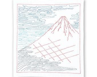 Olympus  Sashiko Kit -Fine Wind Clear Morning  SK409 - Sashiko Flower Fukin-Katsushika Hokusai Thirty-six Views of Tomitake- Hand Stitch