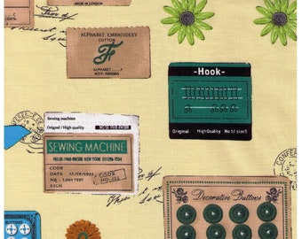 HALF YARD Yuwa - Sewing Notions on Pale Yellow - Suzuko Koseki 829609-B - Hook, Needle, Antique Buttons, Handicraft Supplies - Japan Import