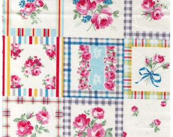 HALF YARD Yuwa - Floral Square Cheater Blue/Grey/Red - Live Life Collection - 825136-B - Japanese Import