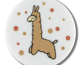 Llama Button - Single Llama with Dots on White - 15 mm Flat Front Button - Made in Germany - Washable and Dry Cleanable - Alpaca