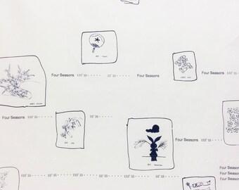 HALF YARD Yuwa - Seasons by Yoshiko Jinzenji JZ312732-B - Cotton Lawn Navy on White - Low Volume Print - Japanese Import Fabric