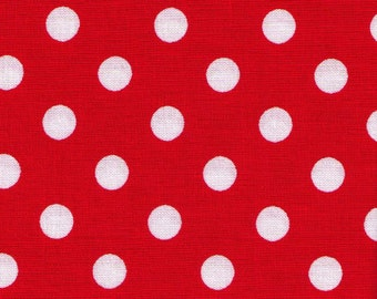"""End of Bolt 32"""" - Lecien - Color Basic - 4524-R  Red with White Large Dots - Japanese Import Fabric"""