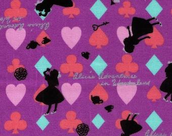 HALF YARD - Alice in Wonderland Purple with Black Silhouette - Rabbit, Cat, Hearts, Clubs, Watch, Diamonds, Teapot, Drink Me, Key, Spades