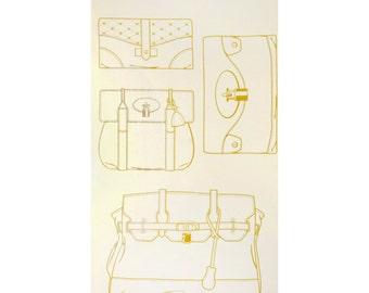 ONE PANEL Trefle Kokka - Gold Metallic Purses on Natural Ivory - 4 Bag Designs per Panel - Gold outline Handbag Bag Tote Clutch