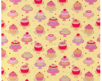 End of Bolt 3 yds -  Yuwa - Mini Cupcakes on Stands on YELLOW - Dessert, Trifle, Flan - Japanese Import