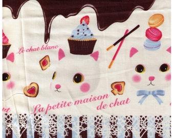 HALF YARD Project by Cotton - La Petite Maison de Chat - Bonbon au chocolat Cats - BLUE Stripes - Chocolate Bar, Cupcake, Macaron,  Japan