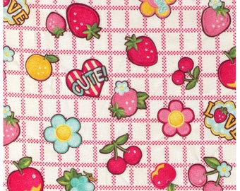 """End of Bolt 45"""" Cut - Yuwa - Cute Fruits and Flowers on Block Grid - PINK Colorway- Atsuko Matsuyama 30s collection 116563 B - Japan Import"""