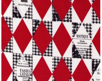 HALF YARD Yuwa - RED Diamond and Houndstooth Cheater - Suzuko Koseki 82678-A - Harlequin, Geometric, Graphic - Japanese Import Fabric