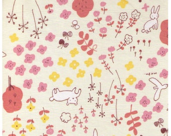 HALF YARD Yuwa - Bunny Fox in Flower Forest on Pale Yellow - Megumi Sakakibara Collection 1808-B - Cotton Lawn - Line Drawing - Japan Import