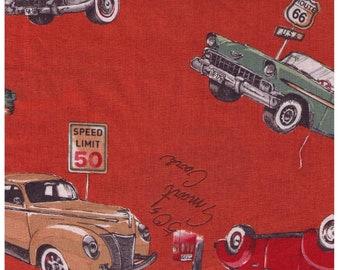 HALF YARD Yuwa - 50s Classic Cars on Orange - 826578 - Suzuko Koseki - Route 66 - Japanese Fabric