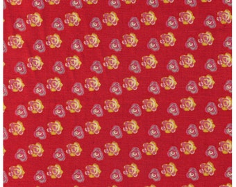 HALF YARD Creative Thursday - The Tinies - JG-50100-101D - Yellow/Pink/Grey Roses on Coral Red- 85/15 Cotton Linen Blend Canvas