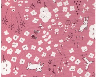 HALF YARD Yuwa - Bunny Fox in Flower Forest on PINK - Megumi Sakakibara Collection 1808-C - Cotton Lawn - Line Drawing - Japanese Import