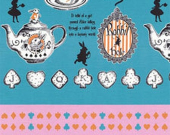 HALF YARD Lecien - Judies Cotton Collection 40537-70 - Alice in Wonderland Tea and Cookies BLUE - White Rabbit, Queen of Hearts Bows