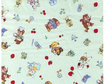 HALF YARD Yuwa - Little Animals on Green - Bear Kitten Deer Squirrel doing chores, playing 826484C - Atsuko Matsuyama 30s -Japanese