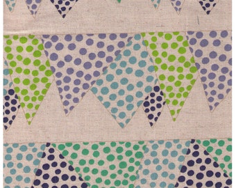 HALF YARD Project by Cotton - Blue, Green, Purple Pennant Polka Dot Flags on Natural Linen - Rows of Banners
