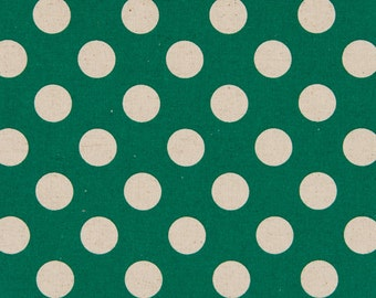 HALF YARD - Cosmo Textile Large Natural Polka Dots on Green - Cotton Linen Canvas - Japanese Import Fabric