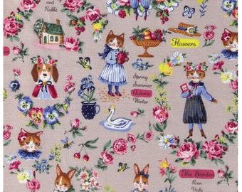 HALF YARD Yuwa - Sobakasu Kids Wonderful World Season on GREY - Cat Dog, Rabbit - Cotton Oxford - Swan, English Rose Garden, Paris, Bunny