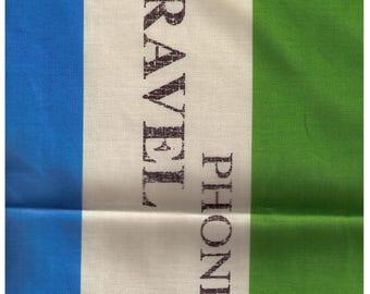 HALF YARD Yuwa - Flag Stripe Lime Green, Aqua and Ivory - Suzuko Koseki 826314-F - Japanese - Merci, Bonjour, Cafe, Europe, Postage Stamp