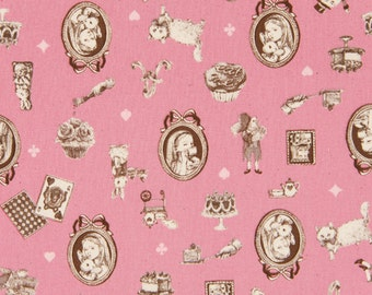 """End of Bolt 19"""" Cut - Alice in Wonderland Cameo on PINK - Rabbit, Cat, Cake, Teapot, Cupcake, Watch, Card, Castle - Cosmo Textile Japanese"""