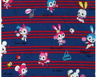 HALF YARD Honey Tune - Kawaii Sports on Red Stripes on BLUE - Cheerleader, Volleyball, Soccer, Tennis, Basketball  - Lecien Japanese