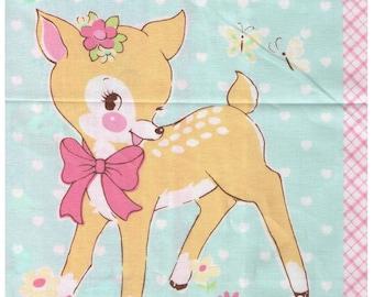 ONE PANEL - Yuwa - Lovely Animal Blocks by Atsuko Matsuyama - Pink Colorway -  Japanese Imported