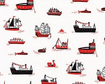 HALF YARD Hello Lucky - Ships on White - By Hello!Lucky for Robert Kaufman - Eunice Moyle and Sabrina Moyle