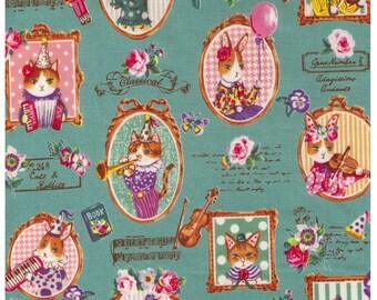 HALF YARD - Yuwa - Classical Music Kitties - Cats and Rabbits on Sage GREEN - Quilting Cotton - Sobakasu-Kids - Grumpy, Party Violin Trumpet