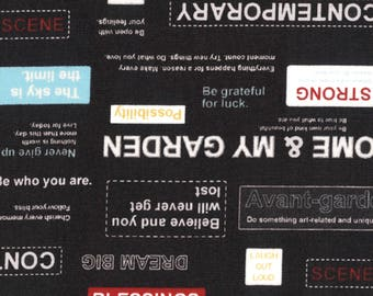 HALF YARD Lecien - Moji Pallette - Positive Quotes on BLACK - 31714-100 - Shirting - Text, Words, Motivation - Japanese Import