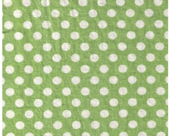 """End of Bolt 33"""" Cut -  Yuwa - White Polka Dots on Green - 52"""" Wide - 45 Cotton 55 Linen Sheeting 448188-G - Large Dots - Japanese Import"""