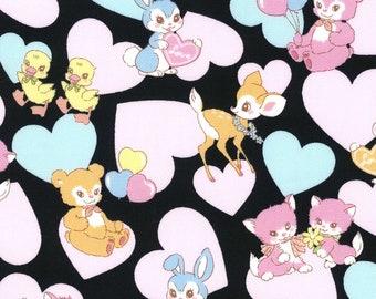HALF YARD Kokka - Pastel Pop Animals and Hearts BLACK Colorway 76020-1D - Panda Deer Bunny Kitty Cherries Rainbow - Japanese Import