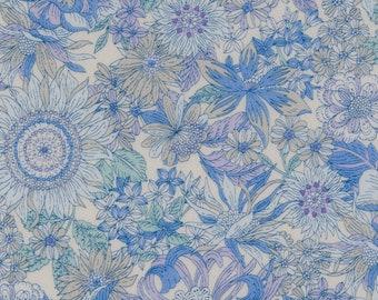 HALF Yard - Cosmo - Garden Delight II in Blue with White Background - Lawn 92406-2B - Flower, Floral, Bouquet, Garden - Japanese Import