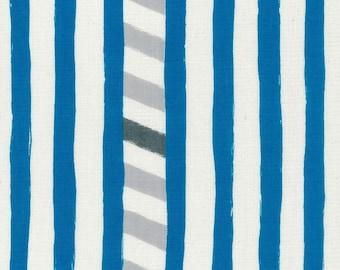 HALF YARD Kokka Echino - LINE Jg96800-802B Blue and Grey - Lines and Diagonal Grey Black Lines - Cotton Double Gauze